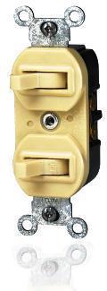 Leviton Decora Duplex Double Heavy Duty Combination Switch, 120/277 VAC, 15 A, 1 P, Ivory