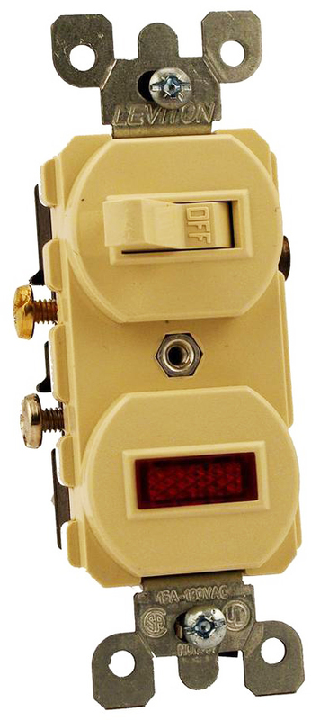 Leviton Decora Traditional Duplex Combination Switch With Neon Pilot Light, 120/277 VAC, 12 A, 1 P, Ivory