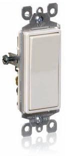 Leviton S12-05601-2WS Decora Grounding Rocker Switch, 120/277 VAC, 12 A, 1 P
