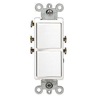 Leviton Decora Combination Switch, 120/277 VAC, 15 A, 1 P, White