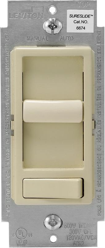 Leviton SureSlide Decora Electro Mechanical Preset Universal Slide Dimmer, 120 VAC, 600/150 W, 1 P, 3 Way, Ivory