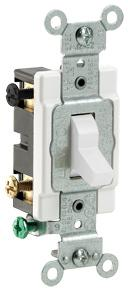 Leviton S02-CS415-2WS Grounded Toggle Switch, 120/277 VAC, 15 A, 2 P, White