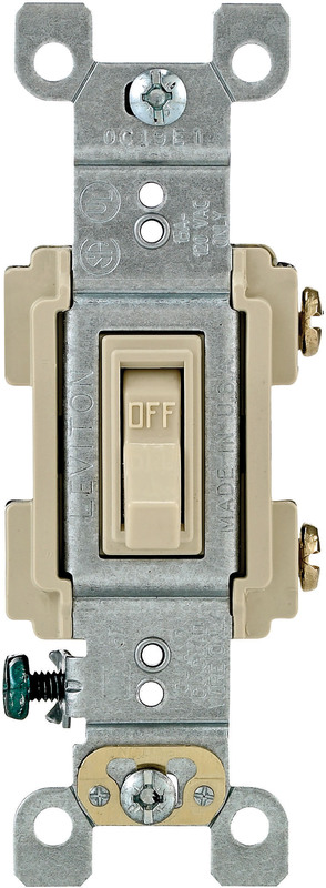 Leviton RS115-ICP Framed Grounded Toggle Switch, 120 V, 15 A, 1 P, Ivory