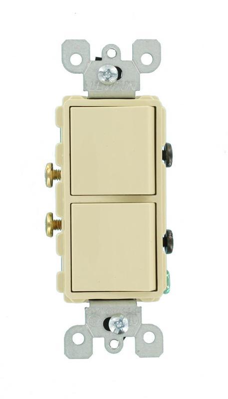 Leviton R51-05634-0IS Dual Rocker Switch, 120/277 V, 15 A, 1 P