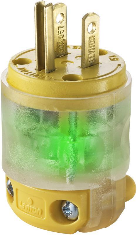 Leviton R50-515PV-LIT Straight Blade Lighted Plug, 125 V, 15 A, 2 P, 3 W, Yellow