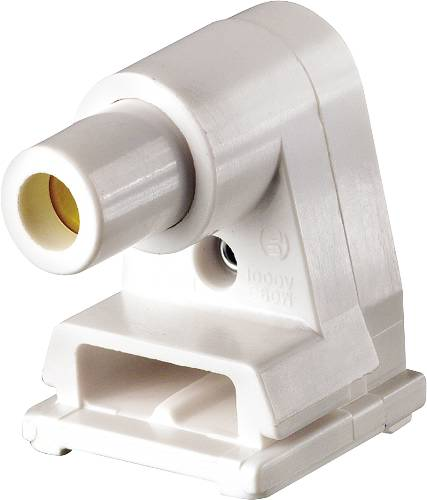 Leviton 104-02536-000 Pedestal Lamp Holder With Plunger, 660 W, Fluorescent, Slimline, White, Thermoplastic