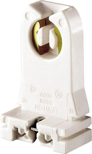 Leviton 104-13357-00N Turn-Type Lamp Holder With Captive Nut, 660 W, Fluorescent, Medium 2-Pin, White