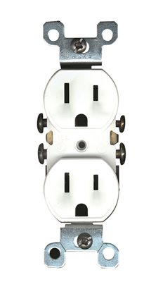 Leviton 303-05320-ICP Straight Blade Duplex Receptacle With Ears, 125 V, 15 A, 2 Pole, 3 Wire, Ivory