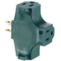 Leviton R07-00694-GRN Grounding Outlet Cube Adapter, 125 V, 15 A, 3 Outlet, Green