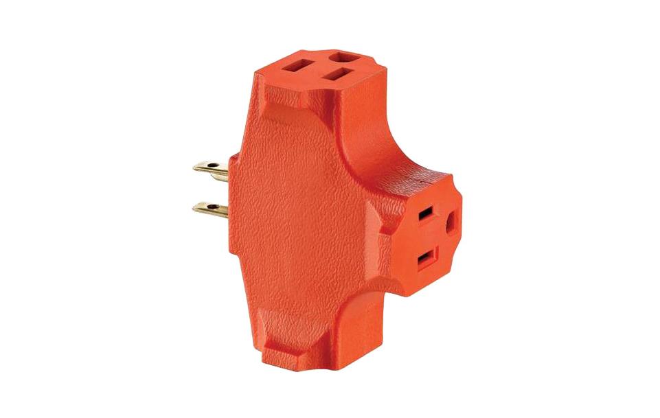 Leviton 003-00694-000 Grounding Outlet Adapter, 125 V, 15 A, 3 Outlet, Orange
