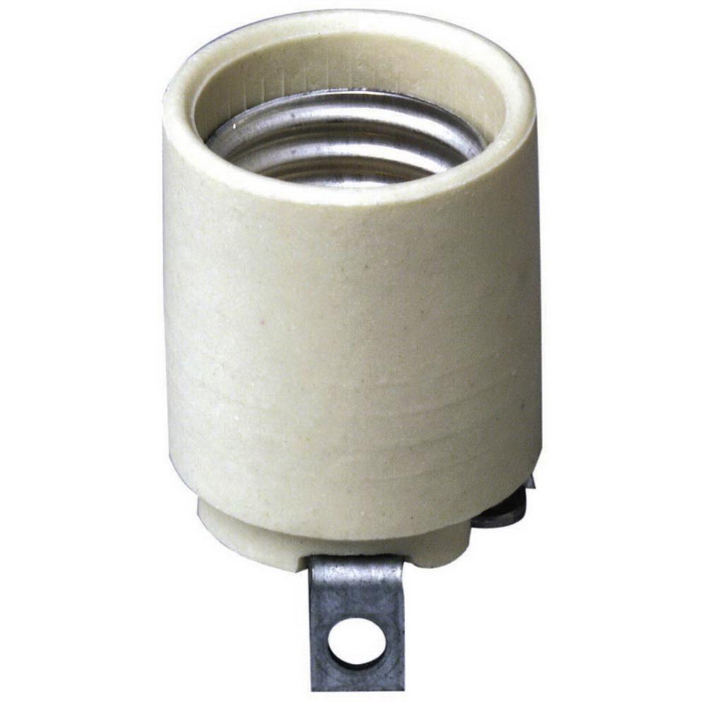 Leviton 008-03152-00F 1-Circuit 1-Piece Keyless Lamp Holder, 660 W, Incandescent, Medium, White