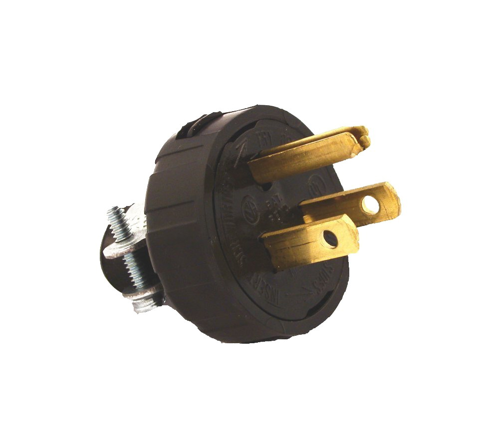 Leviton 000-48648-000 Round Handle Plug With Cord Clamp, 125 V, 15 A, 2 P, 3 W, Black