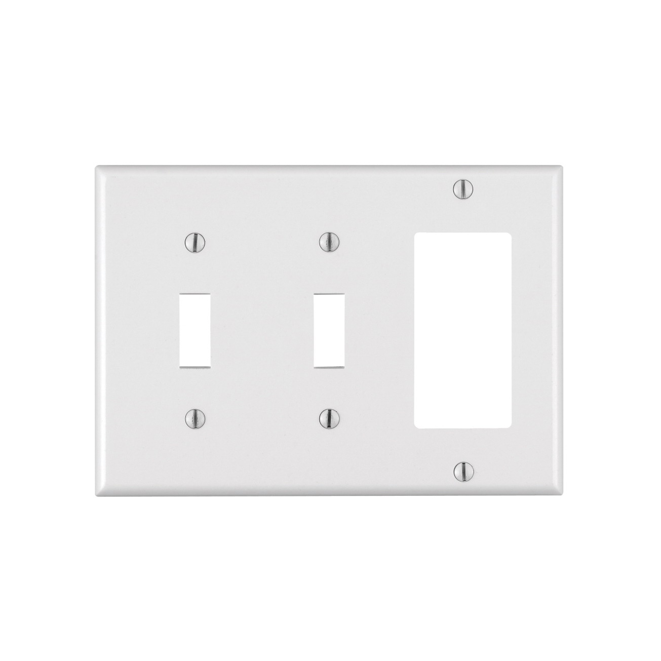Leviton 005-80421-00W 2-Toggle 1-Decora/GFCI Standard Size Wall Plate, 3 Gang, 4.5 in L X 6.38 in W 0.22 in T, White