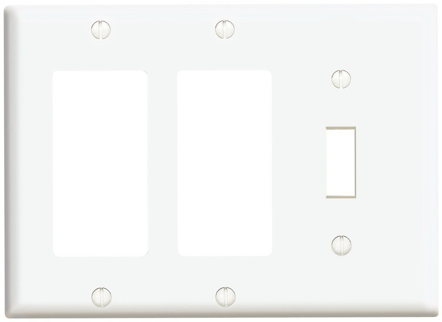 Leviton 003-80431-00W 1-Toggle 2-Decora/GFCI Standard Size Wall Plate, 3 Gang, 4.5 in L X 6.38 in W 0.22 in T, White