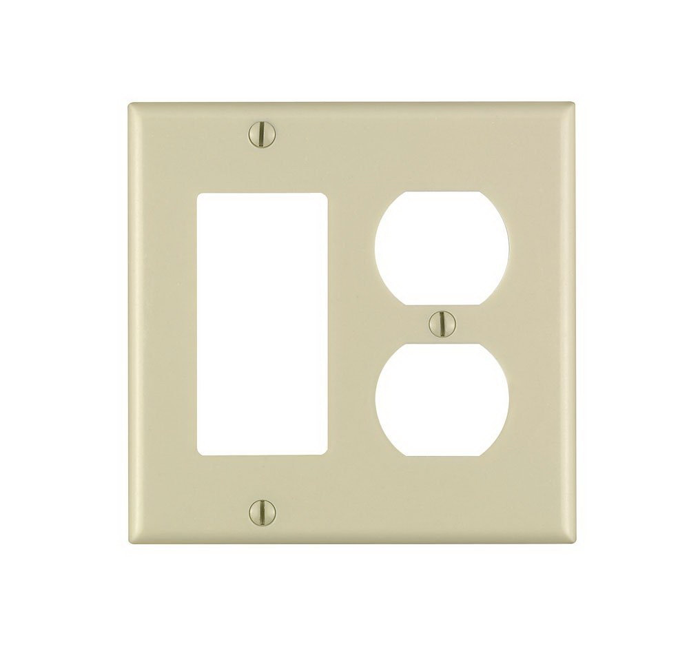 Leviton 001-80455-00I 2-Duplex 1-Decora/GFCI Standard Size Wall Plate, 2 Gang, 4.5 in L X 4.56 in W 0.22 in T, Ivory
