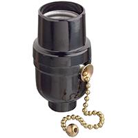 Leviton Electrolier 2-Piece Lamp Holder With 6-1/4 in Pull Cord, 660 W, Incandescent, Medium, Black, Phenolic Body