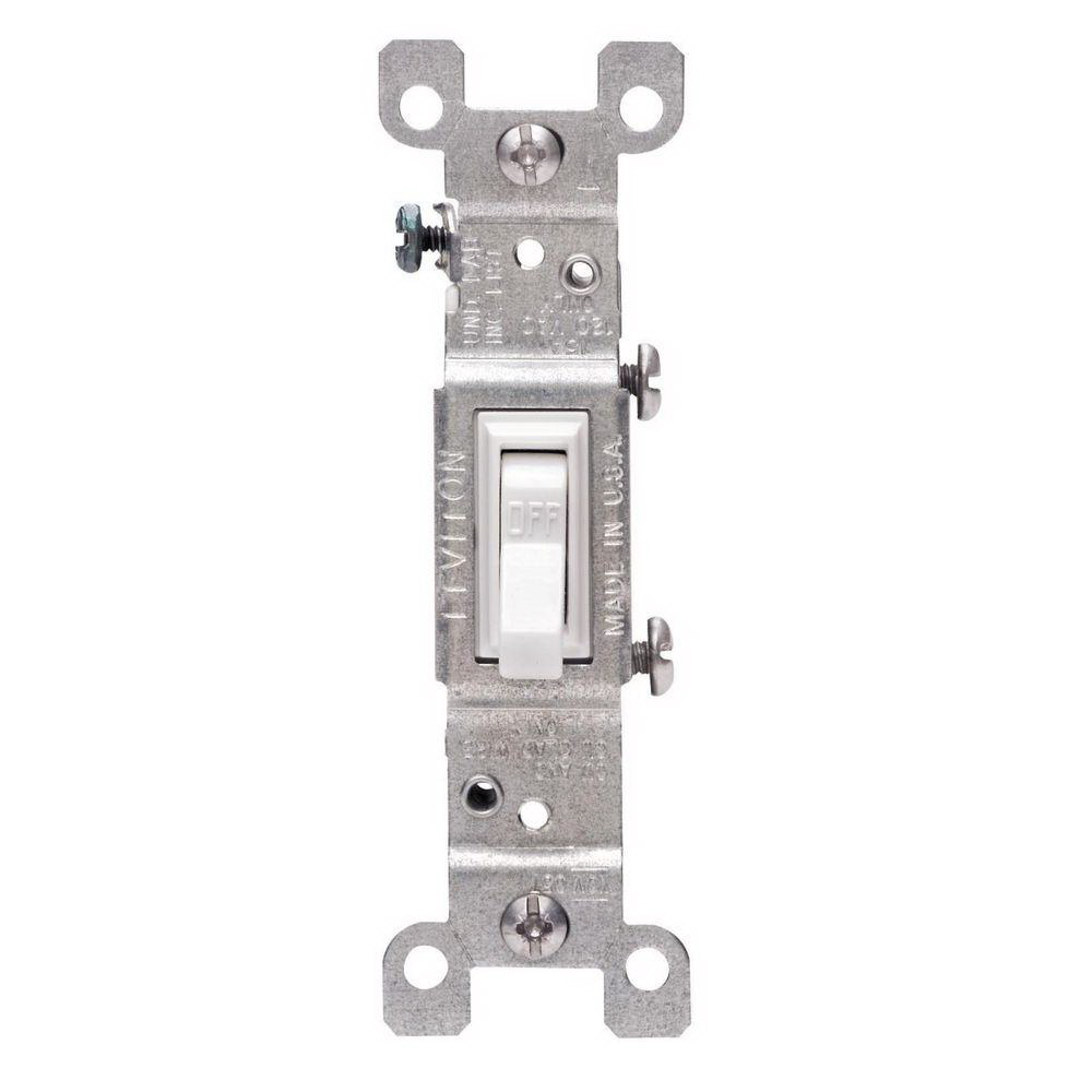 Leviton M24-01451-2WM Framed Grounded Toggle Switch, 120 V, 15 A, 1 P, White