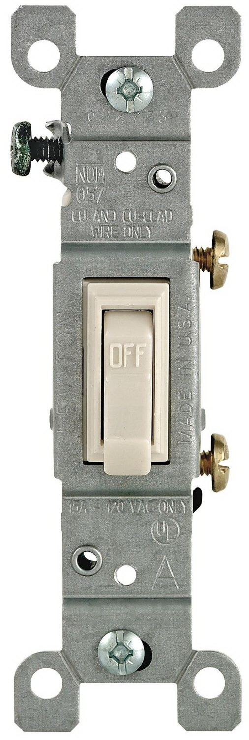 Leviton M26-01451-2TM Framed Grounded Toggle Switch, 120 V, 15 A, 1 P, Light Almond