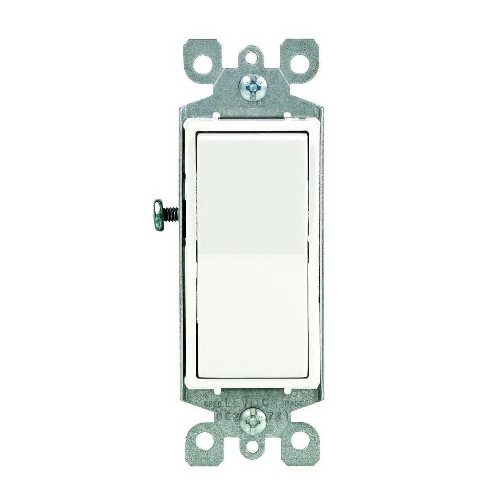 Leviton M32-05601-2WM Decora Grounding Rocker Switch, 120/277 VAC, 12 A, 1 P