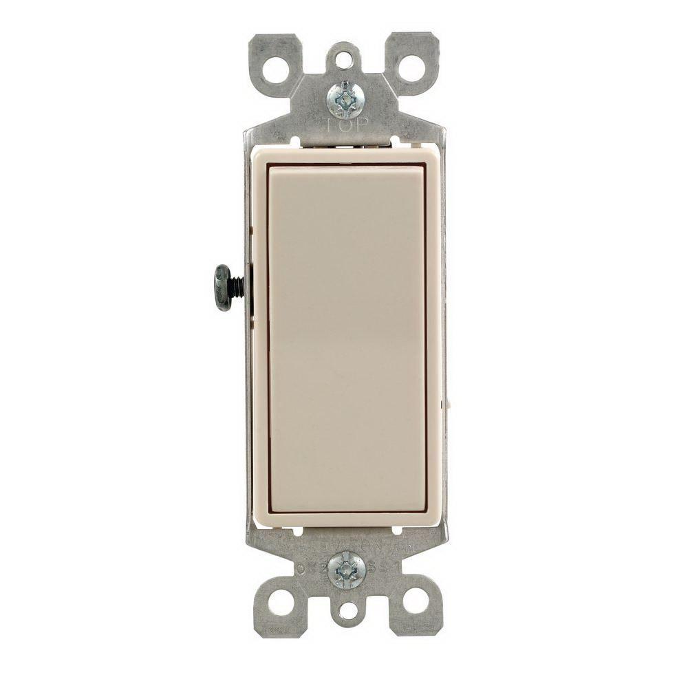 Leviton M36-05601-2TM Decora Grounding Rocker Switch, 120/277 VAC, 12 A, 1 P