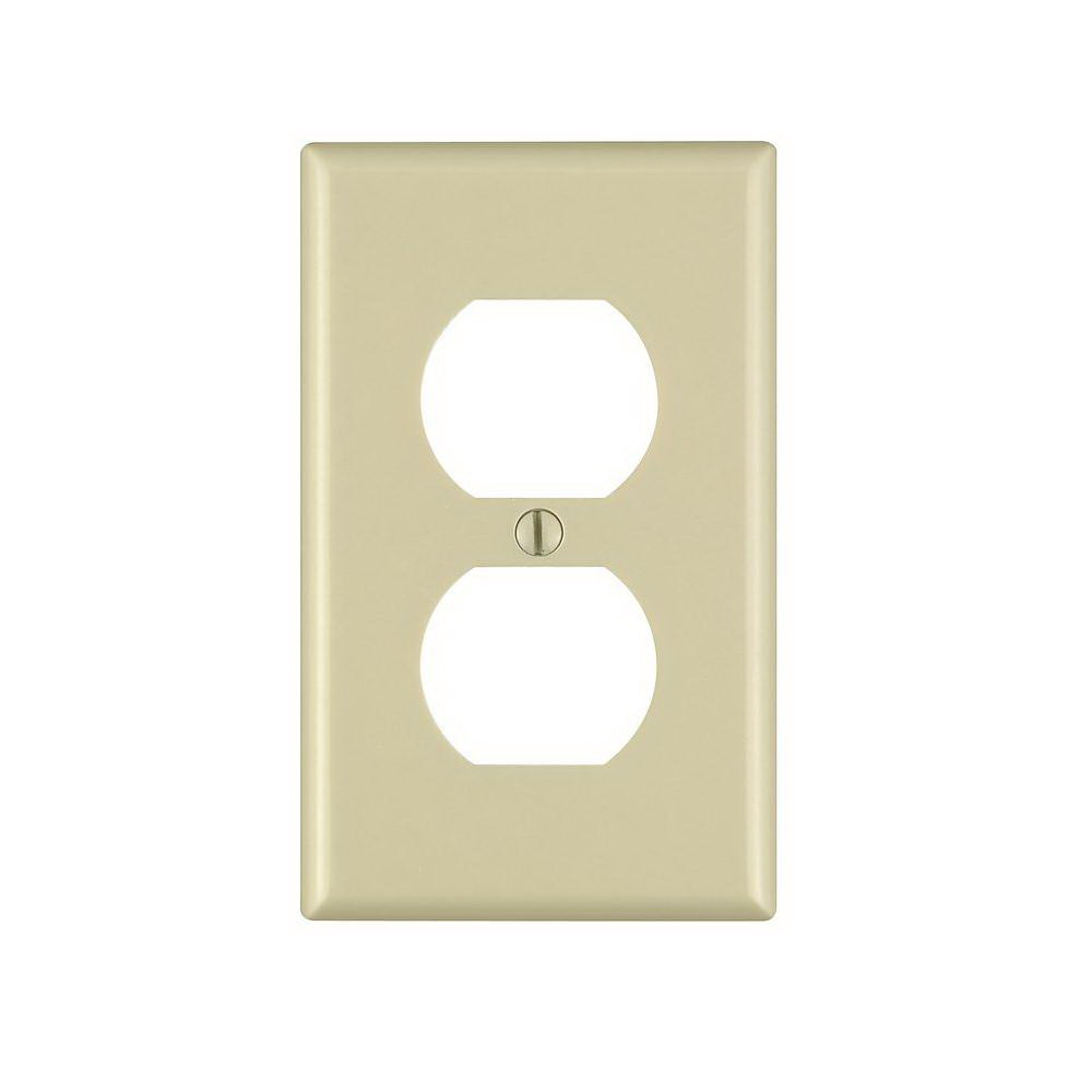 Leviton M25-86003-IMP 1-Duplex Receptacle Standard Size Wall Plate, 1 Gang, 4-1/2 in L X 2-3/4 in W 0.22 in T, Ivory