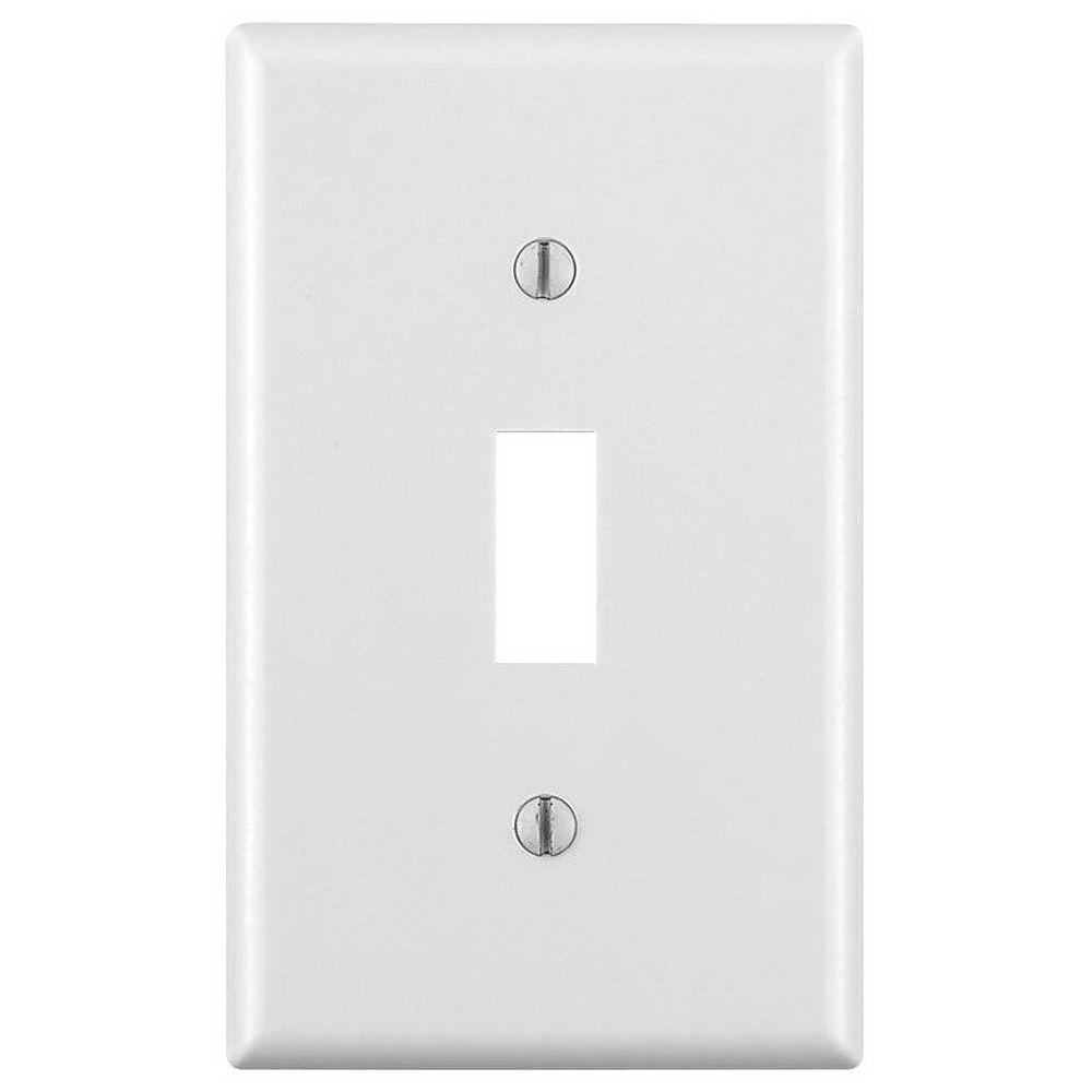 Leviton M24-88001-WMP 1-Toggle Standard Size Wall Plate, 1 Gang, 4-1/2 in L X 2-3/4 in W 0.22 in T, White, Smooth