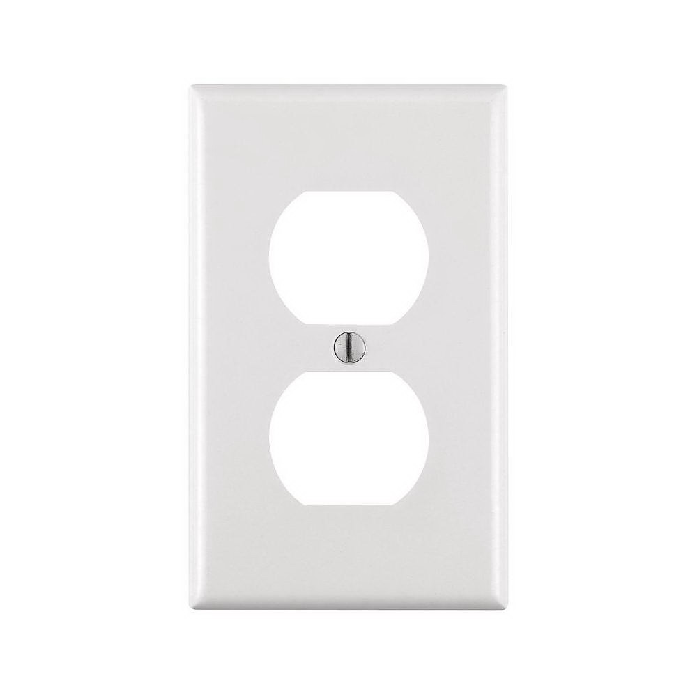Leviton M24-88003-WMP 1-Duplex Receptacle Standard Size Wall Plate, 1 Gang, 4-1/2 in L X 2-3/4 in W 0.22 in T, White