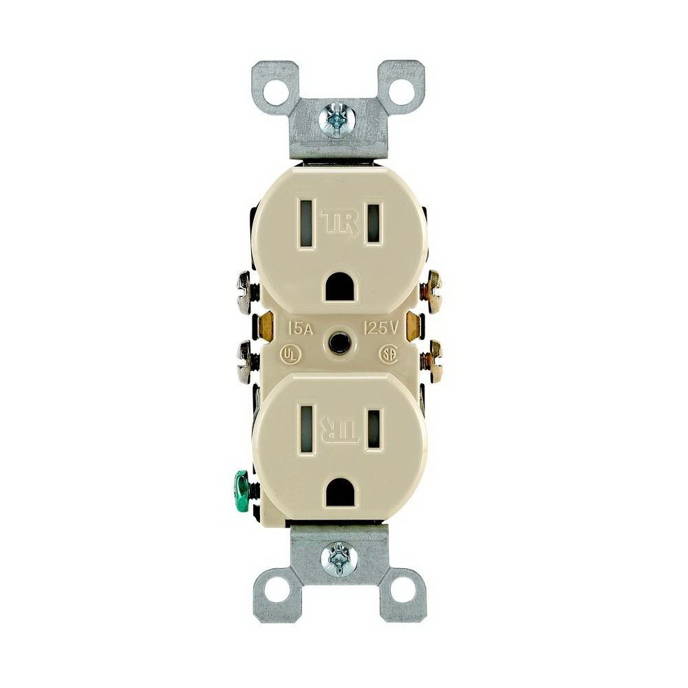 Leviton M21-T5320-IMP Straight Blade Tamper Resistant Duplex Receptacle, 125 V, 15 A, 2 Pole, 3 Wire, Ivory