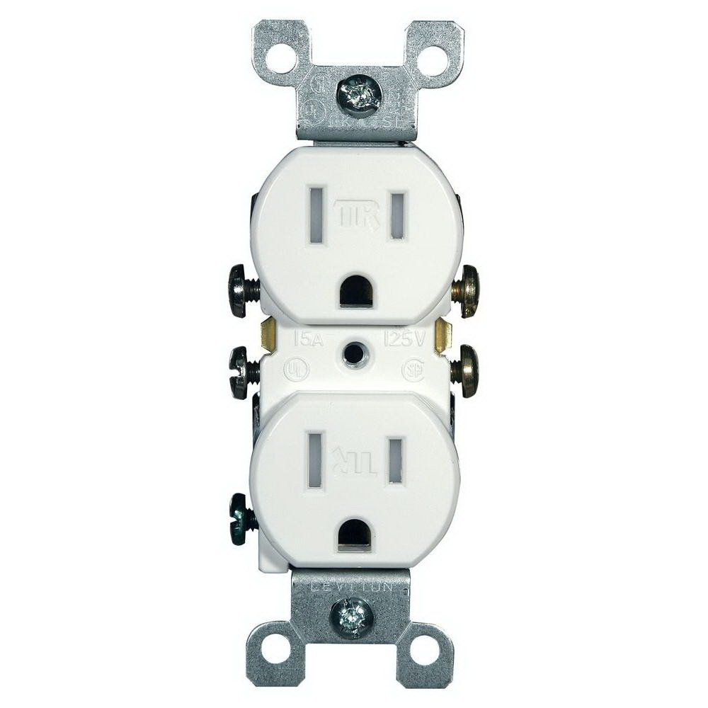 Leviton M22-T5320-WMP Straight Blade Tamper Resistant Duplex Receptacle, 125 V, 15 A, 2 Pole, 3 Wire, White