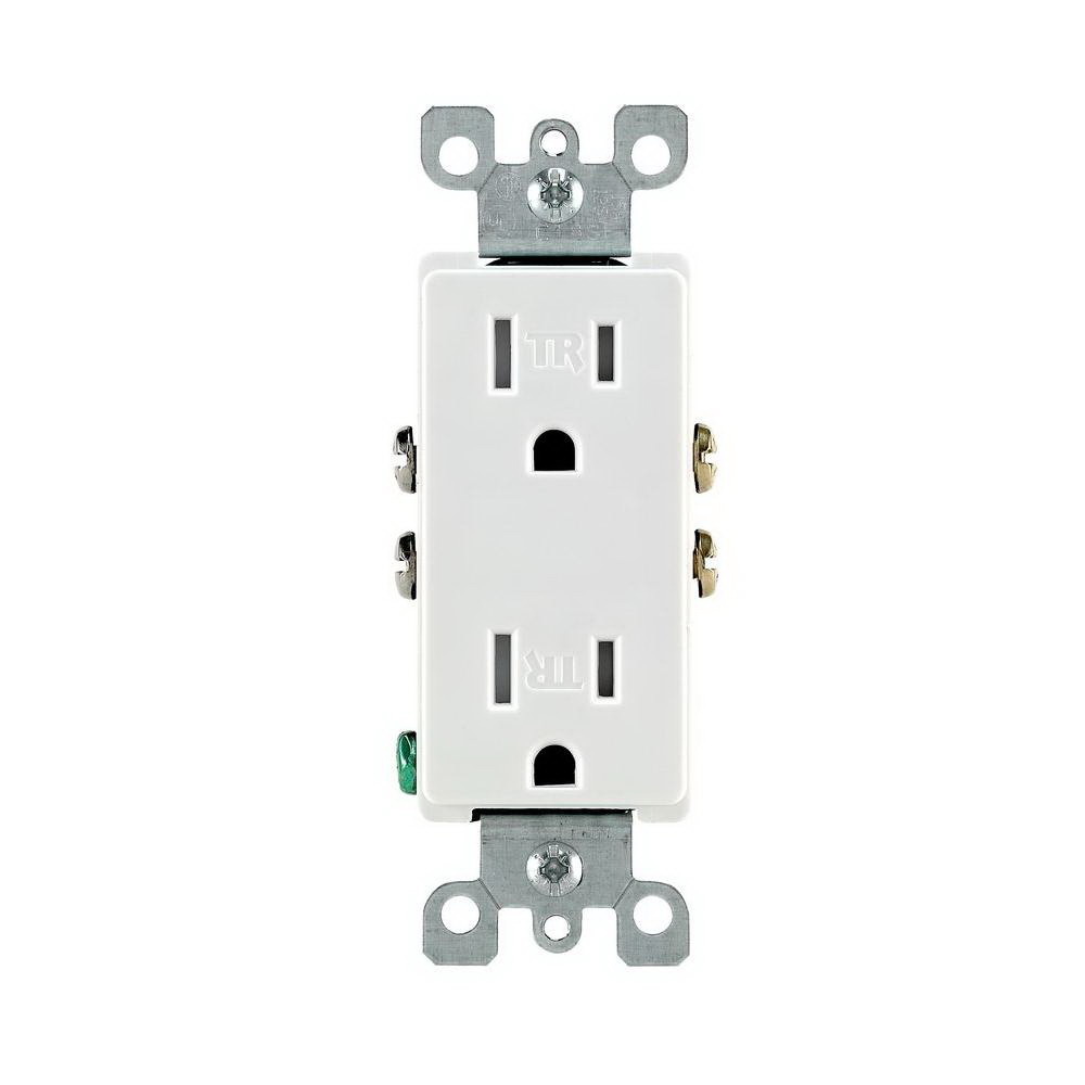 Leviton M22-T5325-WMP Straight Blade Tamper Resistant Duplex Receptacle, 125 V, 15 A, 2 Pole, 3 Wire, White