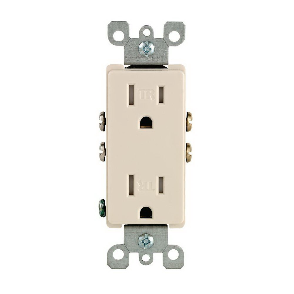 Leviton M26-T5325-TMP Straight Blade Tamper Resistant Duplex Receptacle, 125 V, 15 A, 2 Pole, 3 Wire, Light Almond