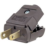 Leviton C20-00101-00P Light Duty Polarized Electrical Plug, 125 V, 15 A, 2 P, 2 W, Brown