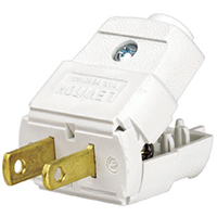 Leviton C22-00101-0WP Light Duty Polarized Electrical Plug, 125 V, 15 A, 2 P, 2 W, White