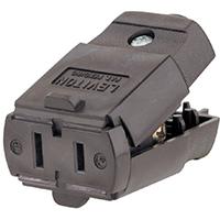 Leviton C20-00102-00P Polarized Cord Connector, 125 V, 15 A, 2 Wire, Thermoplastic, 0.25 in, 1-15R NEMA, Brown