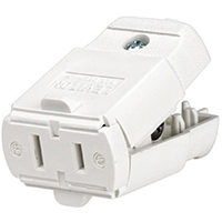Leviton C22-00102-0WP Polarized Straight Blade Cord Connector, 125 V, 15 A, 2 Pole, 2 Wire, Thermoplastic, 0.25 in