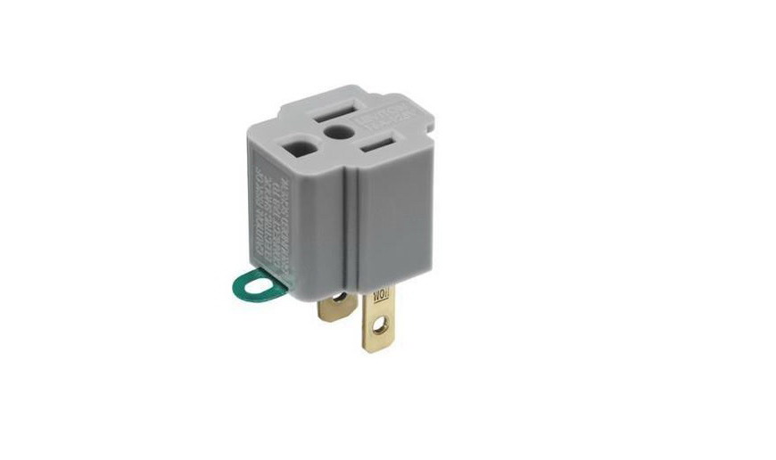 Leviton C30-00274-000 Grounding Outlet Adapter, 125 V, 15 A, 1 Outlet, Gray