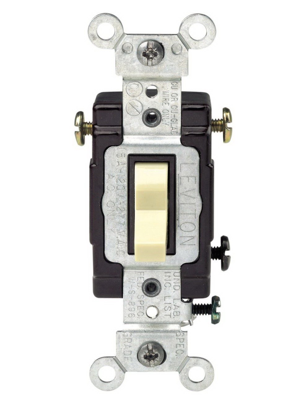 Leviton C21-05503-LHI Grounded Toggle Switch, 120 VAC, 15 A, Ivory