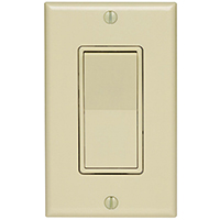 Leviton C25-05671-02I Grounding Rocker Switch With Wall Plate, 120/277 VAC, 12 A, 1 P