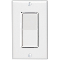 Leviton C28-05671-02W Grounding Rocker Switch With Wall Plate, 120/277 VAC, 12 A, 1 P