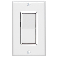 Leviton Decora Grounded Rocker Switch With Wall Plate, 120/277 V, 15 A, 1 P