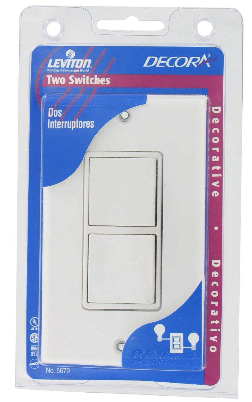 Leviton C22-05679-00W Grounding Rocker Switch With Wallplate, 120/277 VAC, 15 A, 1 P