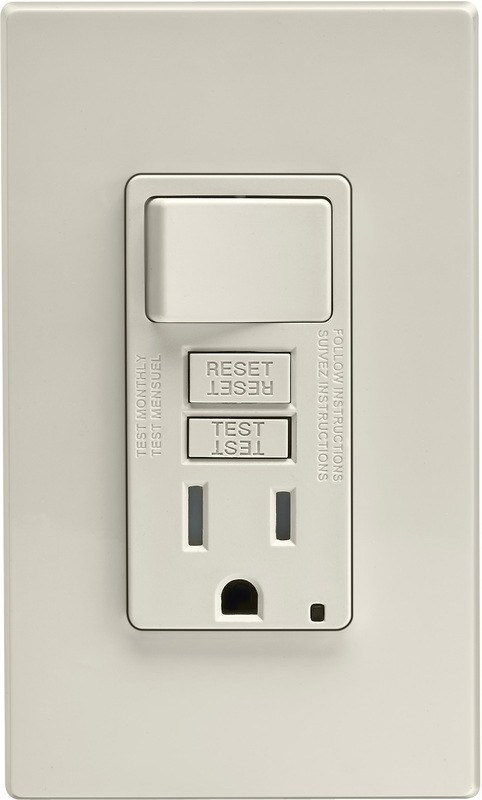 Leviton C26-X7299-0PT Tamper Resistant Combination GFCI/Switch With Wall Plate, 2 P, 3 Wire, 15 A, 125 VAC