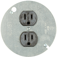 Leviton 250-01228-000 Straight Blade Duplex Receptacle, 125 V, 15 A, 2 Pole, 3 Wire, Brown
