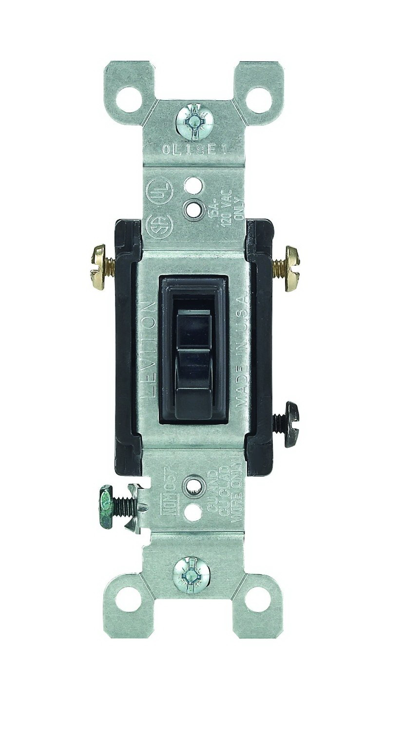 Leviton 232-01453-02E Framed Grounded Toggle Switch, 120 VAC, 15 A, Black