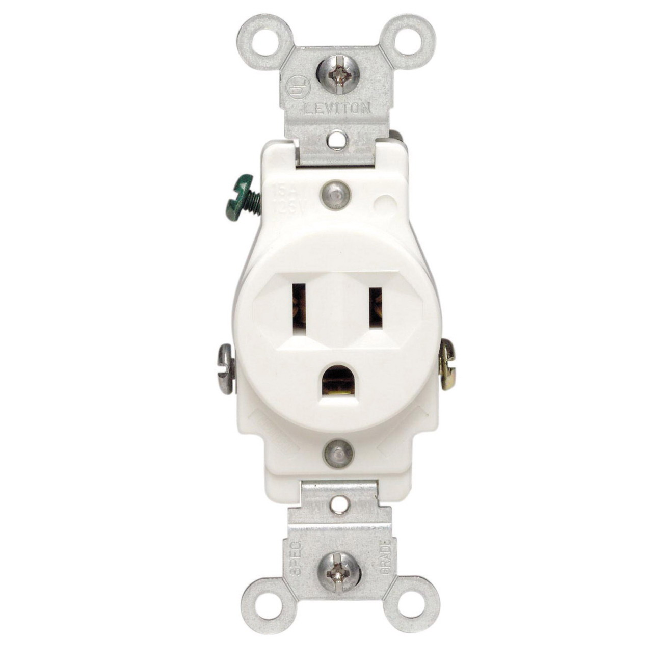 Leviton S02-05015-KWS Single Receptacle, 125 VAC, 15 A, 2 Pole, 3 Wire, White