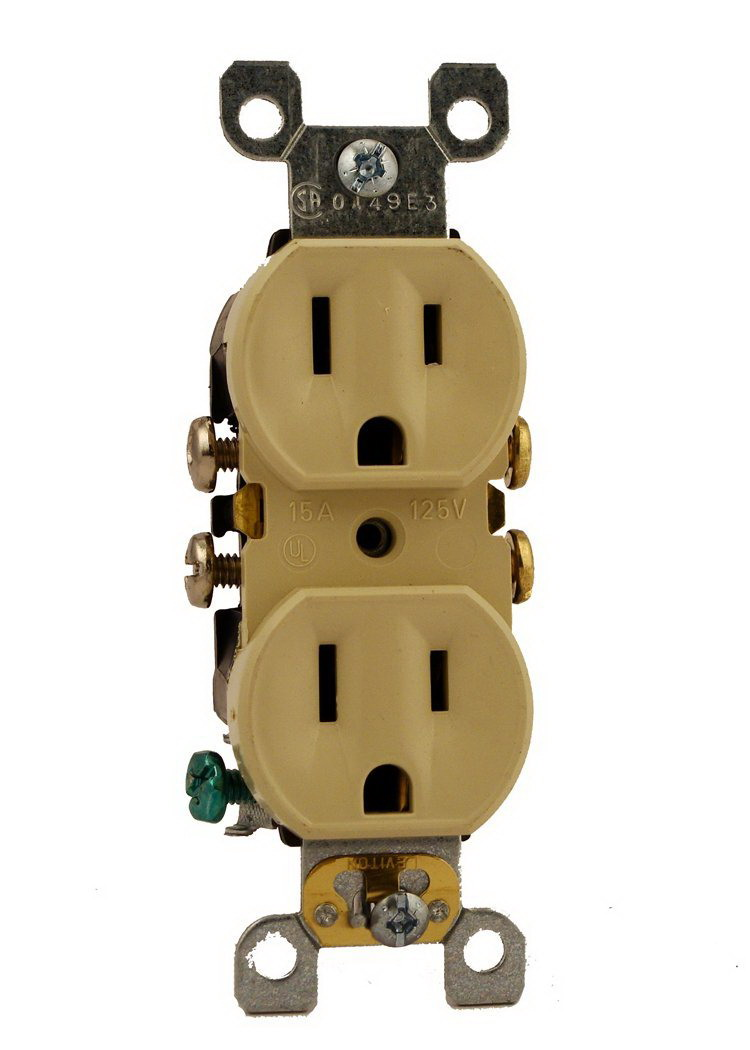 Leviton 252-05320-0SI Straight Blade Duplex Receptacle With Ears, 125 V, 15 A, 2 Pole, 3 Wire, Ivory