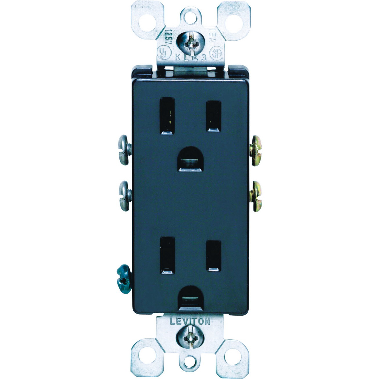 Leviton Decora Straight Blade Duplex Receptacle, 125 V, 15 A, 2 Pole, 3 Wire, Black