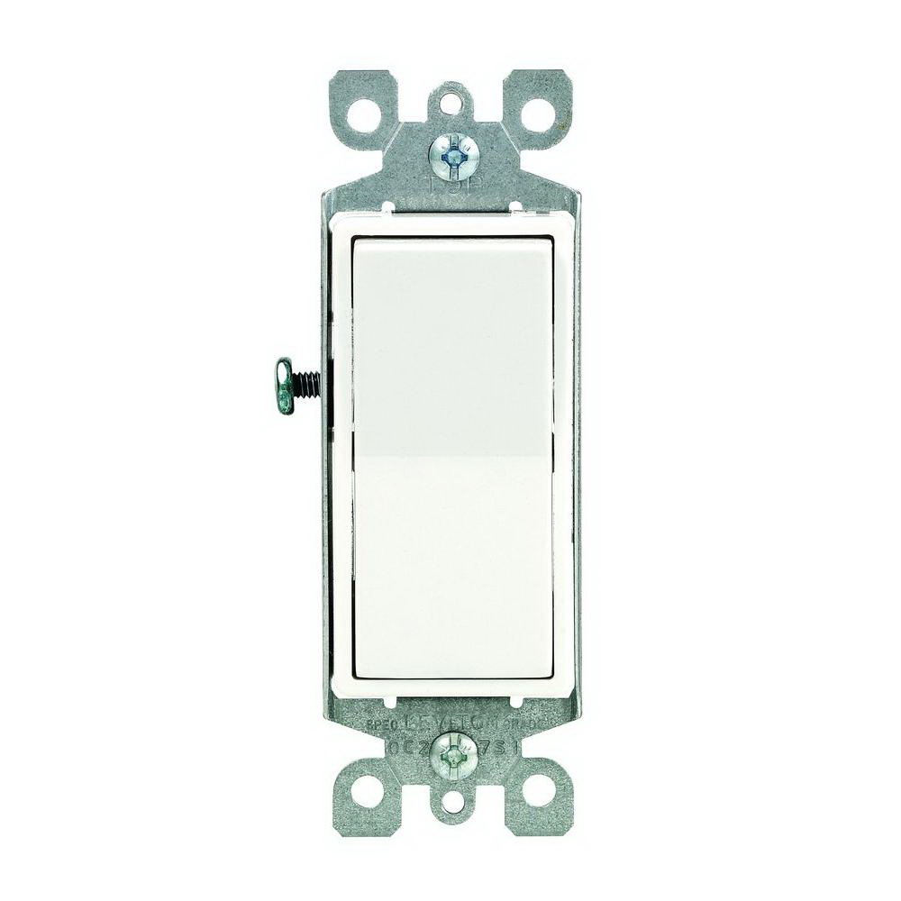 Leviton R72-05613-2WS Grounded Illuminated Off Rocker Switch With Ground Screw, 120/277 V, 15 A, 1 P