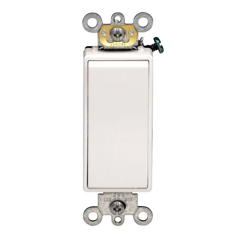Leviton Decora Self-Grounding Rocker Switch, 120/277 VAC, 16 A, 1 P