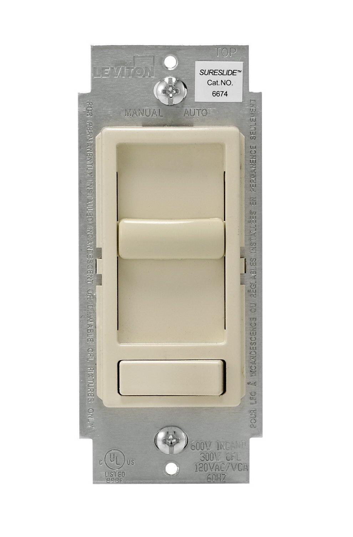 Leviton SureSlide Decora Electro Mechanical Preset Universal Slide Dimmer, 120 VAC, 600/150 W, 1 P, 3 W